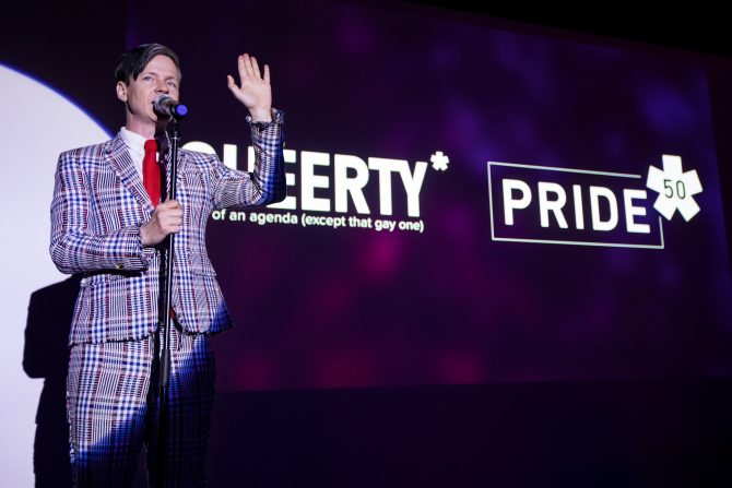 John Cameron Mitchell at Queerty Pride50 Event at Town